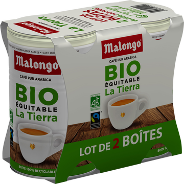 Malongo Café Moulu La Tierra Bio Commerce Équitable Malongo, 2x250g