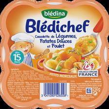 Cassolette légumes de patates douces et poulet blédina BLEDICHEF, dès15 mois, 250g