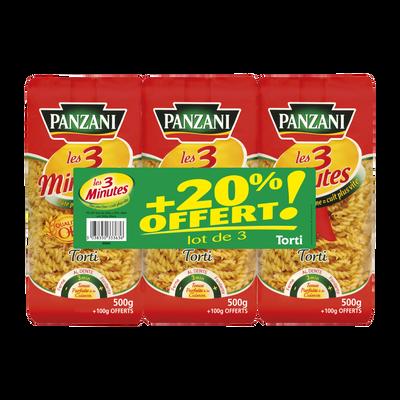 Torti cuisson rapide PANZANI, 500g x3 + 20% offert