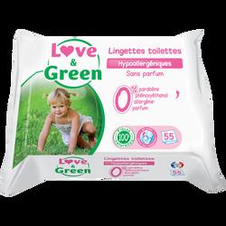 Lingettes de toilettes hypoallergéniques LOVE&GREEN, x55