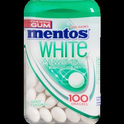 Chewing-gum sans sucre white always chlorophylle MENTOS, boîte de 100dragées, 109g