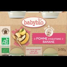 Pot pomme banane BABYBIO, dès 4 mois, 2x130g