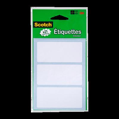 Etiquettes adhésives SCOTCH, 34x75mm, blanches, 21 unités