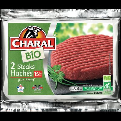 Steak haché, 15% MAT.GR., BIO, CHARAL, France, 2 pièces, 200g