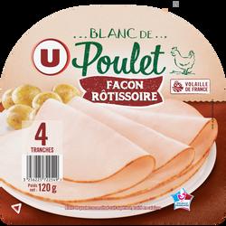 Blanc de poulet façon rôtissoire U, 4 tranches soit 120g