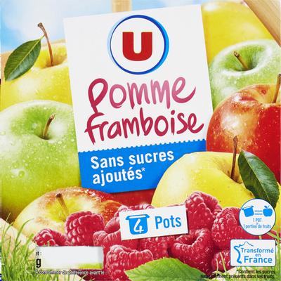 Purée de fruits parfum pommes et framboise sans sucres ajoutés U, 4x100g