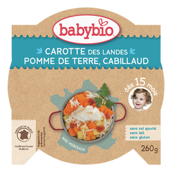 Assiettes carotte pomme de terre cabillaud BABYBIO, dès 15 mois, 260g