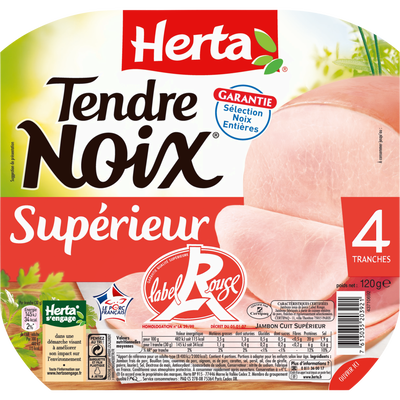 Tendre noix label rouge 4 tranches HERTA, 120g