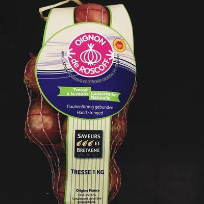 Oignon rose Roscoff AOP tresse tradition 1kg cal50/70 France