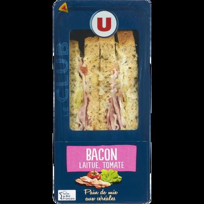 Sandwich au pain de mie aux céréales garni de bacon cuit fumé, de tomates et de salade U, 210g