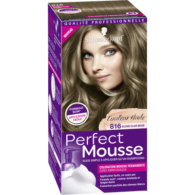 Coloration permanente sans ammoniaque, PERFECT MOUSSE, blond clair beige n°816