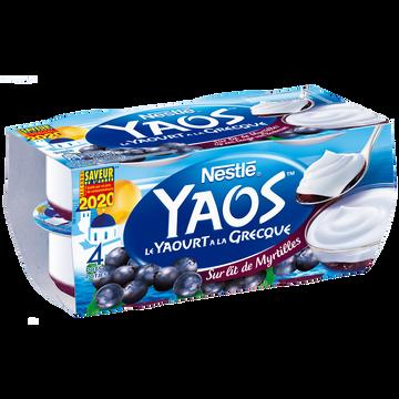Nestlé Yaourt Yaos Brassé Sucré Sur Lit De Myrtilles Nestle, 4x125g