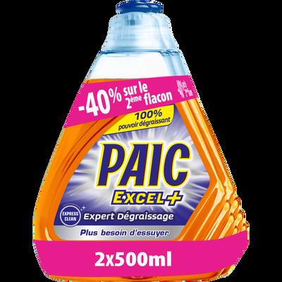Liquide vaisselle expert dégraissage PAIC excel+, flacon 2x500ml