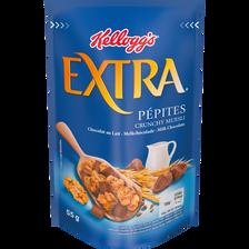 Pépites de céréales croustillantes avec des morceaux de chocolat au lait Extra KELLOGG'S, 5 mini packs soit 275g