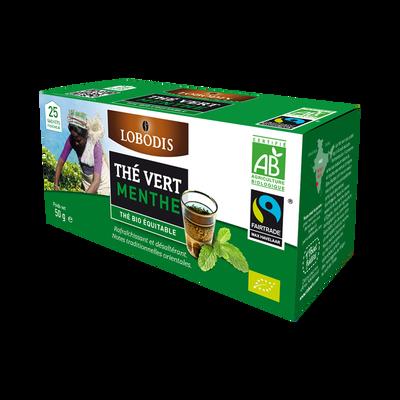Thé vert bio à la menthe LOBODIS, 25 sachets, 50g