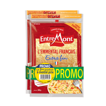 Entremont Emmental Râpé Lait Thermisé Entremont, 29% De Mg, 2 Unités De 300g
