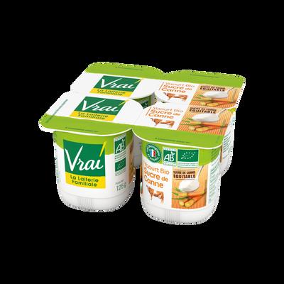 Yaourt nature bio sucré au sucre de canne VRAI, 4x125g