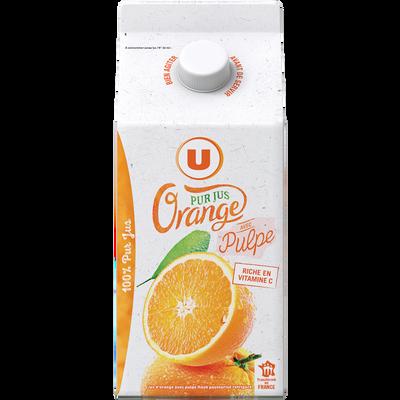 Pur jus réfrigéré orange pulpée flash pasteurisé U brique 1,50L
