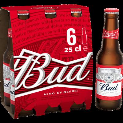 Bière blonde BUD, 5°, 6x25cl