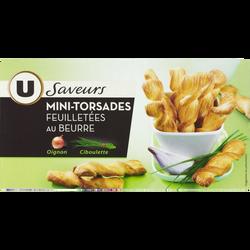 Mini feuilleté torsade oignon et ciboulette saveurs U, paquet de 100g
