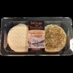 Délices fermier lait cru de chèvre 21% crémeux+poivre CAVET 2x100g