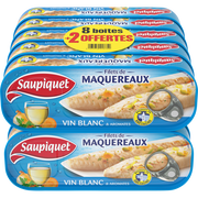 Saupiquet Filet Mqx Au Vin Blanc&aromates Saupiquet Btes 8x1/4+2 Offerts