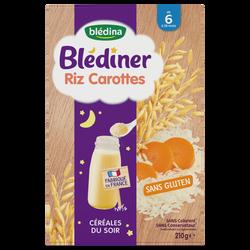 BLEDÎNER céréales riz carottes dés 6mois Blédina, 210g