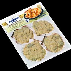 Coquilles St-Jacques surgelées cuisinées à la bretonne 50% de noix  LACOMPAGNIE ARTIQUE, 4 x110g