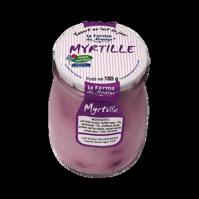 Yaourt entier brassé au lait du jour Myrtille LA FERME DU MANEGE, poten verre de 180g