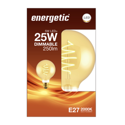 Led déco spirale 25w e27 doré ENERGETIC-g125-5w-250ml-2000k