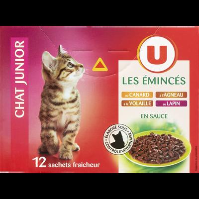 Les émincés en sauce pour chat junior au canard, agneaux, volaile etlapin U, 12 sachets fraîcheur, 100g