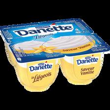 Dessert Lacté arôme saveur vanille Le Liégeois DANETTE, 4x100g