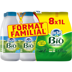 Lait UHT bio 1/2 écrémé LACTEL, 8x1L format familial