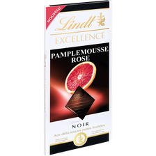 Tablette de chocolat noir et pamplemousse rose EXCELLENCE LINDT, 100g