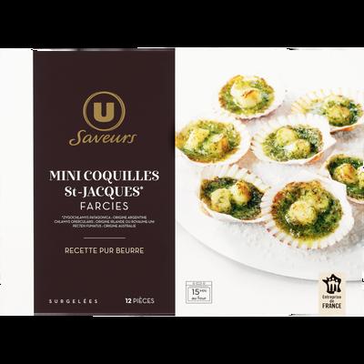 Mini coquilles St Jacques farcies beurre et ail et persil Saveurs U, x12 soit 150g