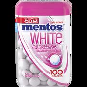 Mentos Chewing-gum Sans Sucre White Parfum Fruit Menthe Mentos, Boîte De 100dragées Soit 106g