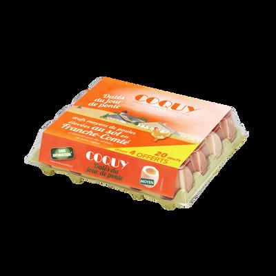 Oeufs de poules élevées au sol calibre moyen djp COQUY, x20 dont 4 offerts