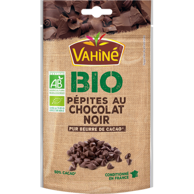 Pépites de chocolat noir bio VAHINE, 100g