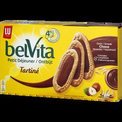 """Biscuits pour le petit déjeuner """"Le Tartiné"""" goût chocolat noisette BELVITA, 250g"""