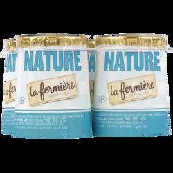 Yaourt nature LA FERMIERE, pot en carton 4x125g