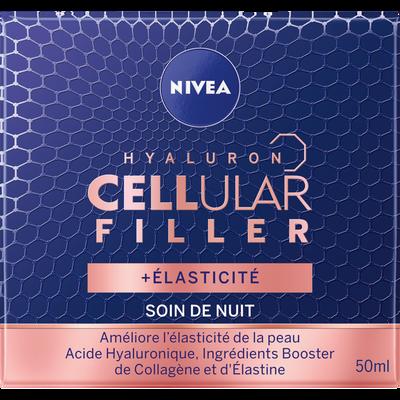 Soin visage de nuit hyaluron cellular filler +élasticité NIVEA, pot de50ml