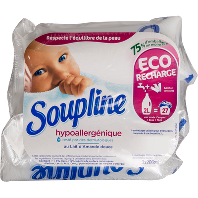 Assouplissant doses hypoallergénique SOUPLINE, 3x200ml