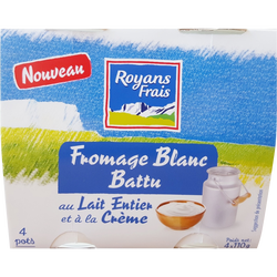 Fromage blanc battu nature ROYANS FRAIS, 4x110g