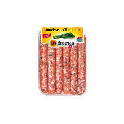 Saucisse ciboulette, LES BRASERADES, 6 pièces, barquette, 300g