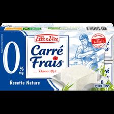 Elle & Vire Fromage Au Lait Pasteurisé Carre Frais, 0% Matière Grasse, 8 Portions,200g
