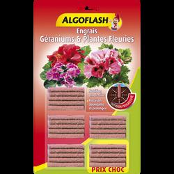 Engrais bâtonnets géraniums et plantes fleuries ALGOFLASH x25-en blister