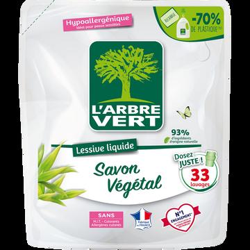 L'Arbre Vert Lessive Liquide Savon Végétale Arbre Vert, Recharge 33 Lavages, 1,5 Litre