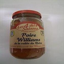 Confiture artisanale  Poire Williams, LES 4 SAISONS, pot de 400g.