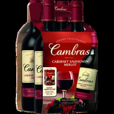 Vin rouge Merlot Cabernet Sauvignon CAMBRAS, 4 bouteilles de 75cl