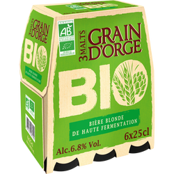 Bière blonde GRAIN D'ORGE 6,8° bio 6x25cl